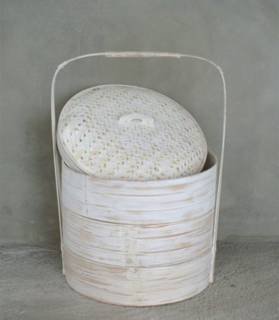 Expressionsmetis Home Decoration Dim Sum Rattan Basket White