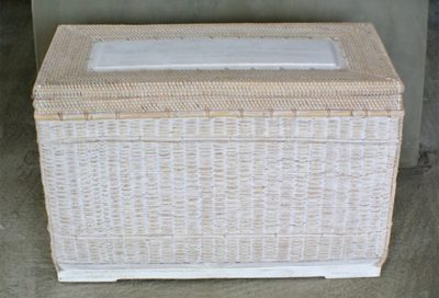 Expressionsmetis Home Decoration White Natural Rattan Chest Ottoman