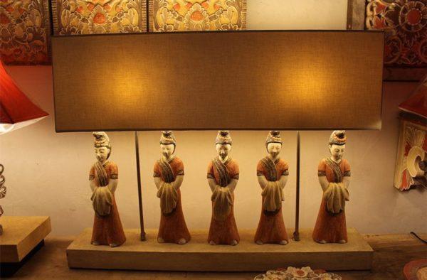Expressionsmetis Lighting Carved Wood Table Lamp Burmese Ladies