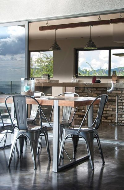 Expressionsmetis Metal Recycled Wood Dining Table Chairs