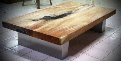 Expressionsmetis Metal Teak Wood Resin Coffee Table