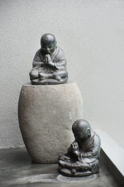 Expressionsmetis Stone Side Table Monk Statue Home Decor