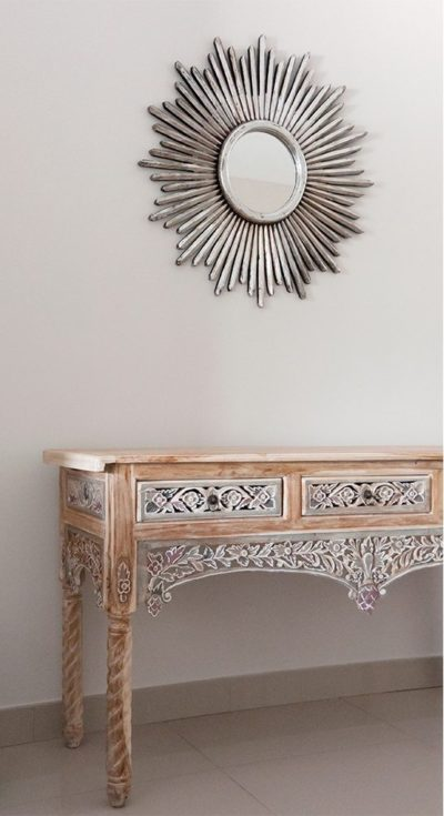 Expressionsmetis Wood Furniture Javanese Teak Sculpted Painted Console Silver Sunburst