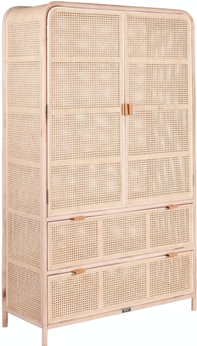 Expressionsmetis All Purpose Furniture Natural Rattan Chicken Eye Weaving Cane Doors Drawer Extra Large Wardrobe Bedroom