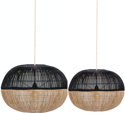 Expressionsmetis Bi Colou Black Natural Hanging Natural Rattan Lamp Shade Pendant Light