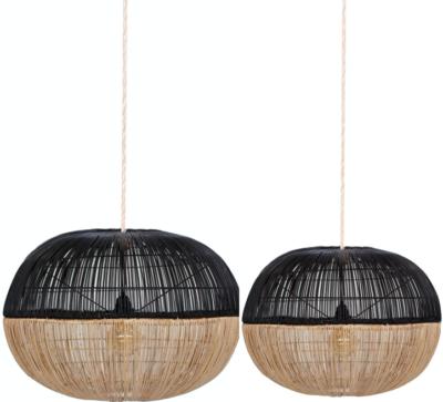 Expressionsmetis Bi Colou Black Natural Hanging Natural Rattan Lamp Shade Pendant Light