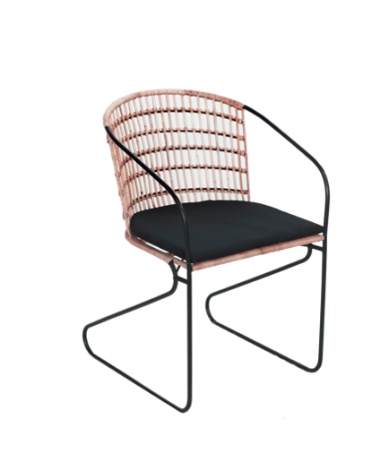 Expressionsmetis Black Metal Frame Legs Dining Chair Rattan Woven Seat Back Rest