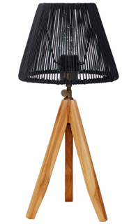 Expressionsmetis Black Tripod Mini Stand Bed Side Table Lamp Natural Rattan Shade Black