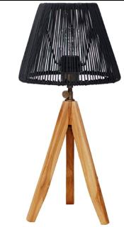 Expressionsmetis Black Tripod Mini Stand Bed Side Table Lamp Natural Rattan Shade Black