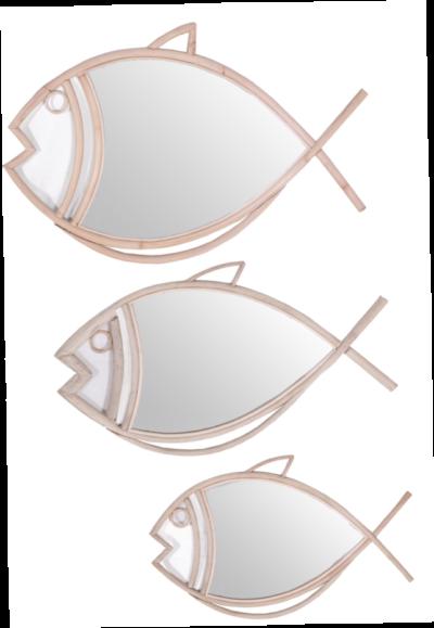 Expressionsmetis Fish Mirror Frame Wall Decoration Natural Rattan