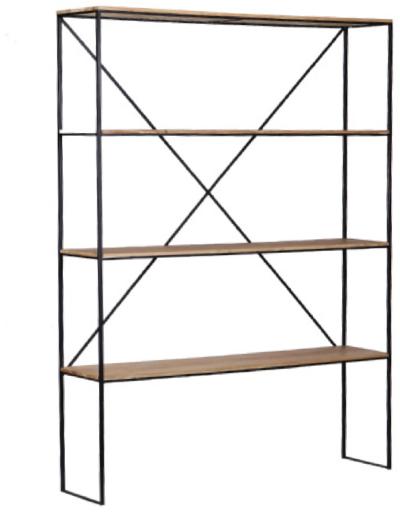 Expressionsmetis Furniture Black Metal Frame Open Shelves Cabinet Teak Wood