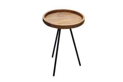 Expressionsmetis Furniture End Bed Side Table Round Wood Teak Top Metal Legs Black