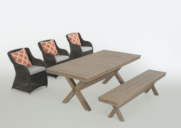 Expressionsmetis Furniture Home Decor Indoor Outdoor Synthetic Rattan Arm Chair Wooden Teak Dining Set Table Cross Leg Bench