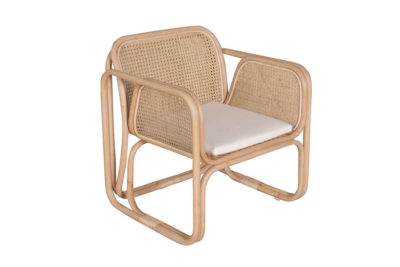 Expressionsmetis Furniture Home Decor Natural Rattan Flamingo Lounge Chair Cane Wicker Houndstooth Weave