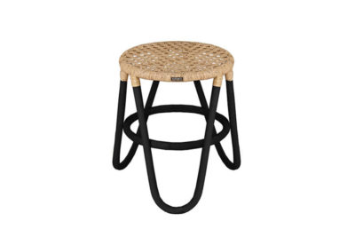 Expressionsmetis Furniture Home Decor Natural Rattan Black Stool Chicken Eye Weaving