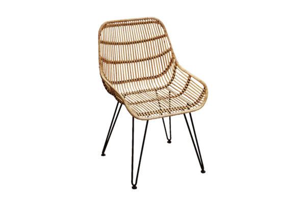 Expressionsmetis Furniture Home Decor Natural Rattan Dining Chair Black Metal Legs Fjord