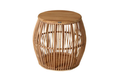 Expressionsmetis Furniture Home Decor Natural Rattan Teak Top Bed Side Table Boho