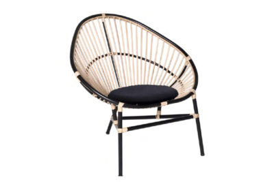 Expressionsmetis Furniture Home Decor Oval Natural Black Rattan Lounge Chair Acapulco Style