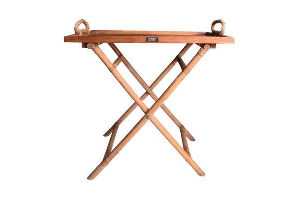Expressionsmetis Furniture Home Decor Teak Tray Natural Rattan Cross Legs Display Table