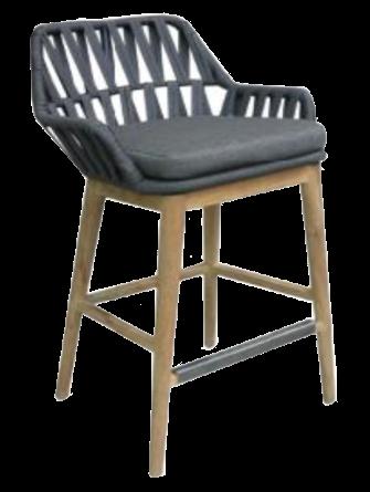 Expressionsmetis Furniture Indoor Anthracite Grey Outdoor Flat Rope Teak Legs Bar Stool