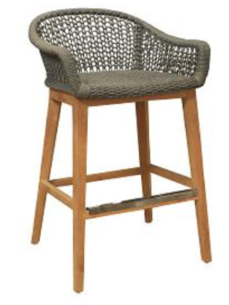 Expressionsmetis Furniture Indoor Outdoor Kaki Rope Net Woven Bar Stool Wooden Legs