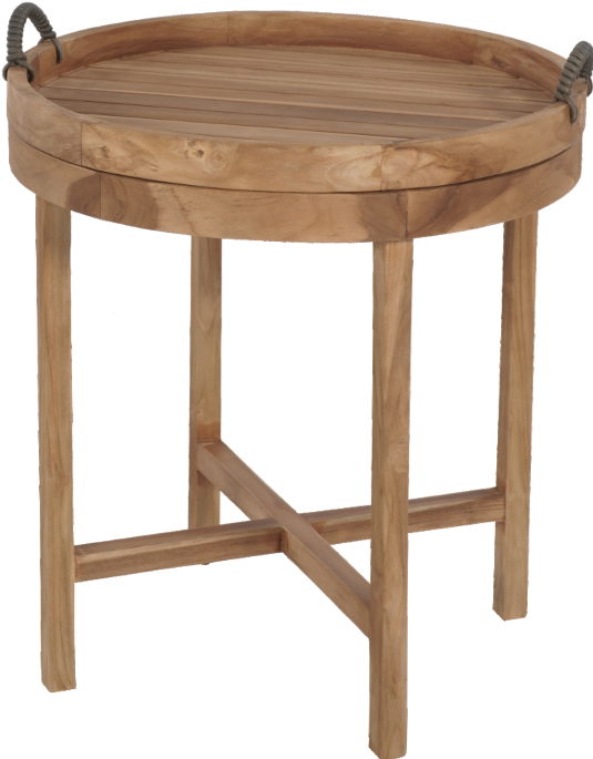 Expressionsmetis Furniture Indoor Outdoor Wood Teak Round Side Table With Tray