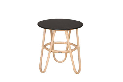 Expressionsmetis Furniture Round Natural Rattan Black Top Side Table
