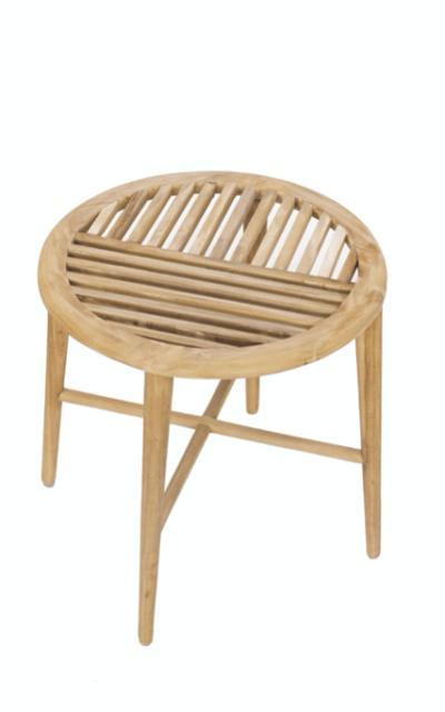Expressionsmetis Furniture Round Side Table Teak Wood Slat Top