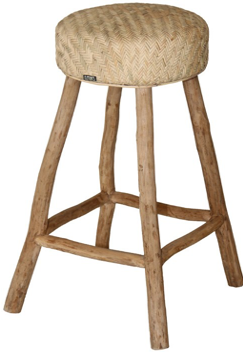 Expressionsmetis Furniture Rustic Natural Raffia Bar Stool Teak Branches