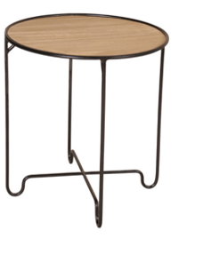 Expressionsmetis Furniture Teak Top Black Metal Frame Side Table