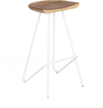 Expressionsmetis Furniture Teak Wood Top White Metal Legs Bar Stool