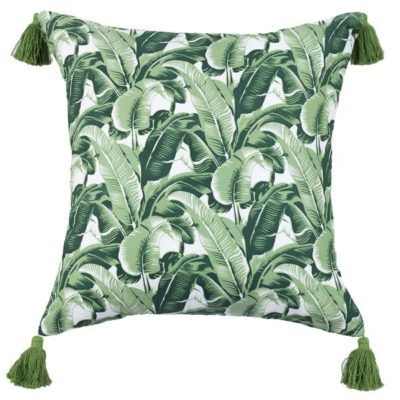 Expressionsmetis Home Decor Decorative Green Banana Leaf 55 X 55 Cm Cushion Cover With Tassle