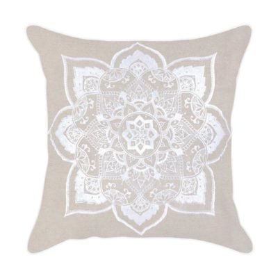 Expressionsmetis Home Decor Decorative White Embroidered Mandala Cushion Cover 55 X 55 Cm