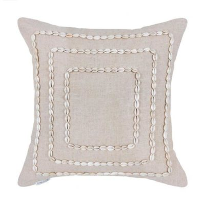 Expressionsmetis Home Decor Decorative Accessories Sea Shells Natural Linen Cushion Cover 55 X 55 Cm
