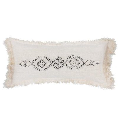 Expressionsmetis Home Decor Decorative Linen Natural Black Stitches Cushion Cover Amara Berber 75 X 35 Cm