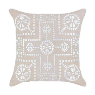 Expressionsmetis Home Decor Decorative Natural White Embroidered Cushion Cover Lalabella 55 X 55