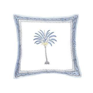 Expressionsmetis Home Decor Decorative White And Blue Palm Tree Cushion Cover 45 X 45 Cm Grande