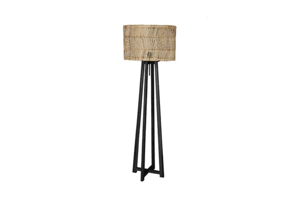 Expressionsmetis Home Decor Furniture Black Wooden Floor Lamp Stand Natural Rattan Shade