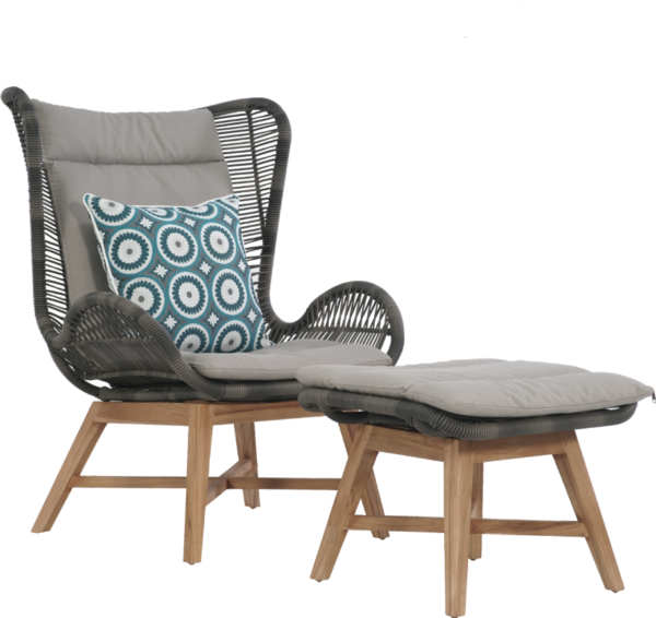 Expressionsmetis Home Decor Furniture Indoor Outdoor Synthetic Relax Lounge Chair Lounger Wooden Teak Legs Foot Stool Dark Grey