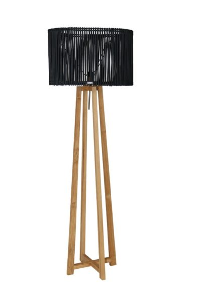 Expressionsmetis Home Decor Furniture Lighting Wooden Teak Floor Lamp Stand Rattan Shade Black