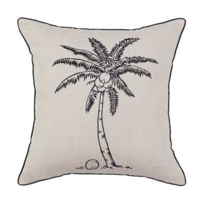 Expressionsmetis Home Decor Interior Decoration Embroidered Natural Black Coco Tree Coconut Cushion Cover 55 X 55 Cm