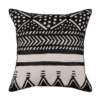 Expressionsmetis Home Decor Interior Decoration Embroidered Natural Jute Cushion Cover Black Shakti 55 X 55 Cm
