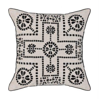 Expressionsmetis Home Decor Interior Decorative Embroidered Cushion Cover Natural And Black Lalabella 55 X 55 Cm