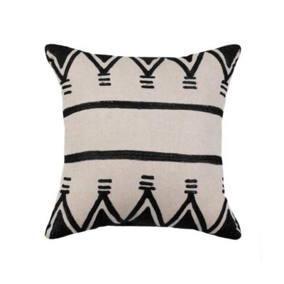 Expressionsmetis Home Decor Interior Decorative Embroidered Natural Black Cushion Cover Ayana 45 X 45 Cm