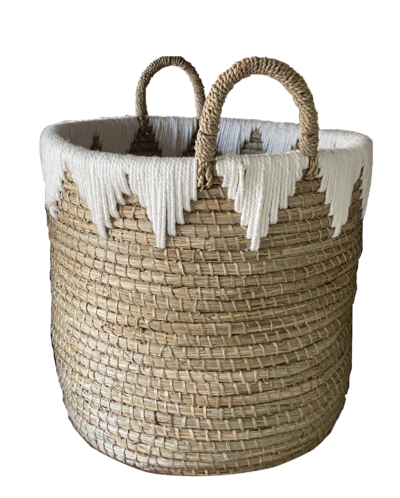 Expressionsmetis Home Decor Natural Seagrass Laundry Basket Plant Pot Boho Chic