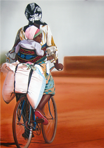 Expressionsmetis Home Decor Wall Art African Colours Woman Child Bicycle Original Painting