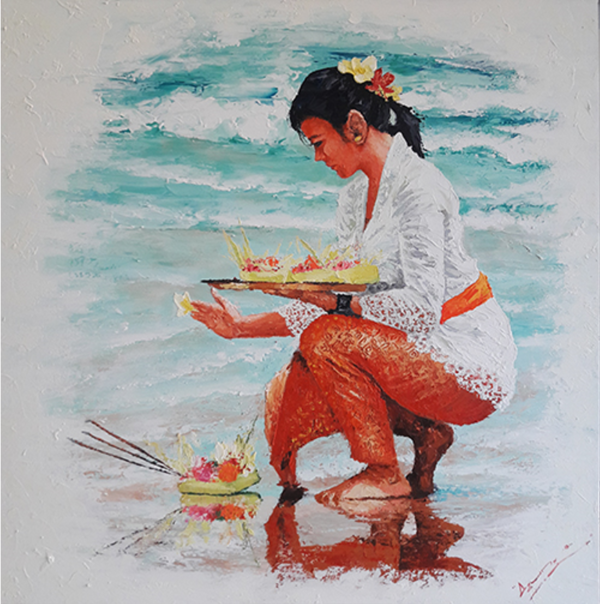 Expressionsmetis Home Decor Wall Art Balinese Offering Sea Side Original Painting