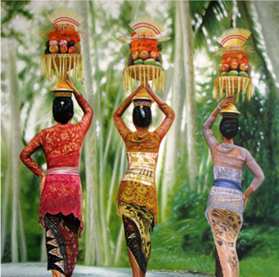 Expressionsmetis Home Decor Wall Art Balinese Women Offering Ritual Original Painting