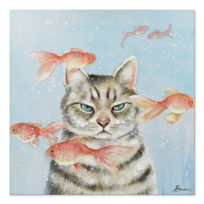 Expressionsmetis Home Decor Wall Art Cat Fish Children Room Painting