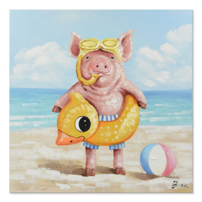 Expressionsmetis Home Decor Wall Art Children Room Pig Duck Beach Painting